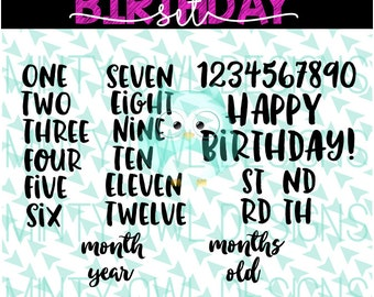 SVG Cut File - Cricut - Birthday Numbers Set - Milestone - Cut Files - Months - Years - Birthday Shirt - Silhouette - Cutting Files