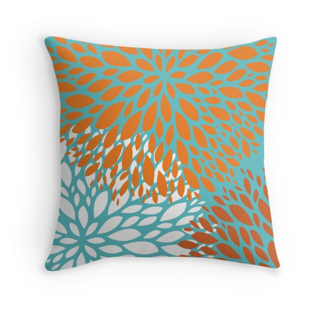 orange turquoise flower decorative throw pillow cover. Black Bedroom Furniture Sets. Home Design Ideas