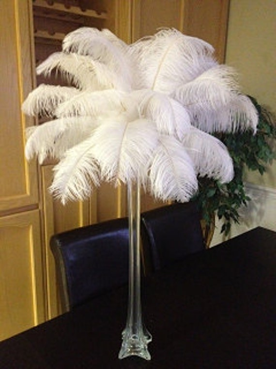 Tall ostrich feather centerpiece kits with eiffel