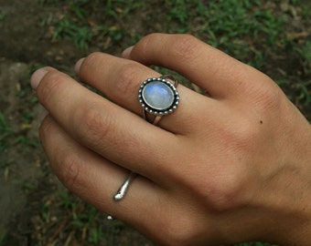 sterling silver and rainbow moonstone ring with beaded wire wrap