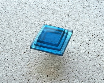 Transparent Aqua Blue Glass Cabinet Knob. Modern Glass Knob. Blue Furniture Handle. Statement Geometric Furniture Hardware. Minimalist Knob