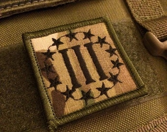 III Three Percenter 3% Militia  Embroidered Patch with Velcro (Multiple Colors)