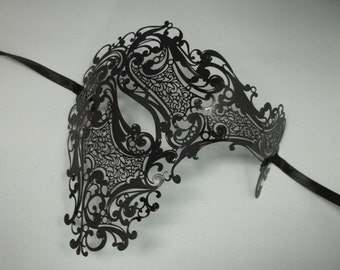 Mens Phantom Masquerade Mardi Gras Metal Filigree Mask in Black with or without Crystals