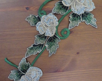 Green / brown / gold floral guipure lace embroidered corsage applique, 1 piece