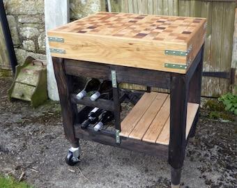 Butchers Block,  Handmade End Grain with ebony Legs and Wine Rack