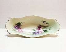 Hand Painted Serving Dish, M&Z Austria, Signed Bone China, Pink Sweet Peas, Sauce Relish Dish, 1900-1909