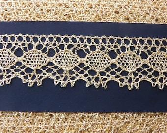 Antique Bobbin  lace, 1900s, golden color
