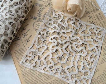Vintage french lace, antique french lace, applique Milan lace, hand made 1900s