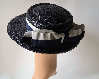 Vintage french straw hat , 1950s