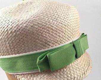 Vintage 1960's Mod Twiggy Straw Hat