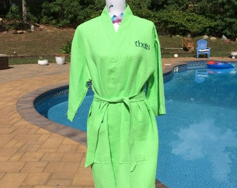 Monogrammed Waffle Kimono Short Robe Square Pattern - Personalized -  GREEN Wedding Bride Pool Spa Robe