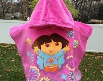 Girls DORA Explorer inspired Hooded Beach Towel Poncho – Personalized
