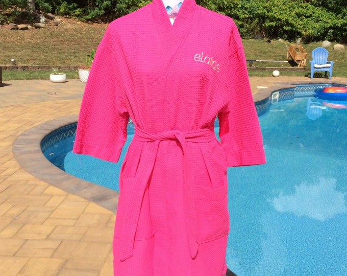 Monogrammed Waffle Kimono Short Robe Square Pattern - Personalized -  FUSCHIA Wedding Bride Pool Spa Robe
