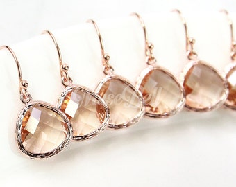 10% OFF, Bridesmaid gifts, Set of 7,8,9,10, Rose gold peach earrings, Wedding rose gold earrings, Peach earring, Peach rose gold jewelry,