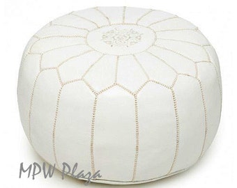 Sale - White Moroccan Leather Pouf / Ottoman