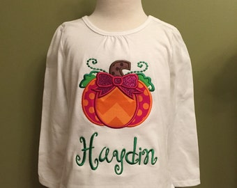 Pumpkin applique monogrammed shirt or onesie