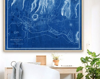 """Map of Honolulu HI 1887, Vintage Honolulu map, Hawaii poster in 4 sizes up to 48x36"""" Street map of Honolulu, HI - Limited Edition of 100"""
