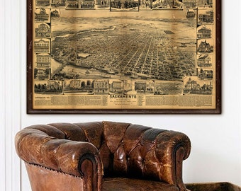 """Map of Sacramento, CA 1890, Old Sacramento map in 4 sizes up to 54x36"""" Sacramento CA, large poster, also in blue - Limited Edition of 100"""