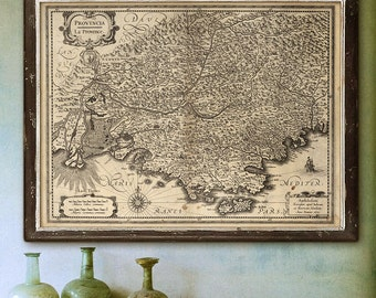 "Map of Provence 1621 Large vintage map of Provence, Cote d'Azur, France in 4 sizes up to 48x36"" (120x90cm) - Limited Edition of 100"