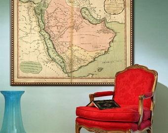 "Map of Arabia 1794, Old Arabia map in 4 sizes up to 45x36"" (110x90 cm) Arabian peninsula, Saudi Arabia, Mekka - Limited Edition of 100"