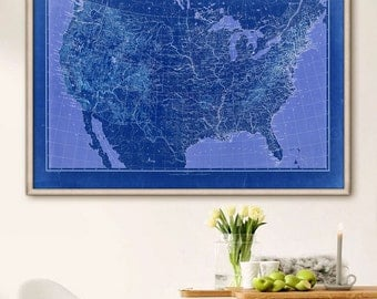 Us Map 1896 Vintage Map Of United States In 4 Sizes Up To 54x36