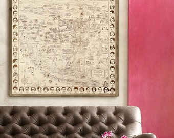 """Hollywood Stars Map 1937, Vintage map of Hollywood movie stars of 1930s, in 4 sizes up to 36x36"""" (90x90 cm) - Limited Edition of 100"""