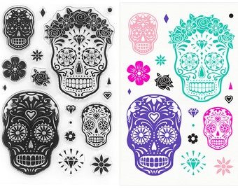 Sugar Skull Stamps - Day of the Dead Clear Stamp Collection
