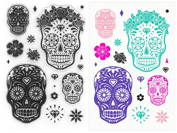 Sugar Skull Stamps - Day of the Dead Clear Stamp ...