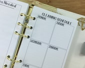 Personal Cleaning Schedule printed planner insert - supplies needed - clean house - chores - weekly maintenance - #224