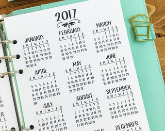 A5 2017-2018 Year at Glance printed planner insert - year in review - yearly planner insert - #101-17