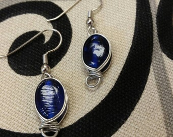 Blue Glass and Silver Wire Twist Dangle Earrings