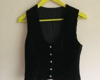 Black 90s velvet waist jacket