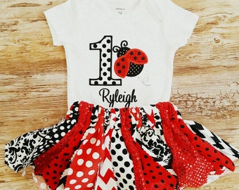 Personalized Embroidered & Appliqued Lady Bug Ladybug  Polka Dot First Birthday Onesie With Matching Tutu