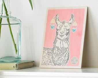 Larry The Llama Wooden Postcard