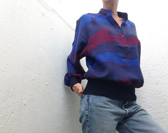 Vtg 80s Guy Laroche sweater bat wing sleeves