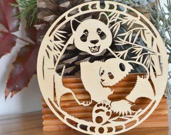 Wood Panda Bear ornament Wood cut Panda Ornament Panda decoration