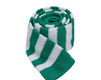 Striped Neckties.Skinny Ties.Wedding Striped Ties.White And Green Striped Knitted Ties