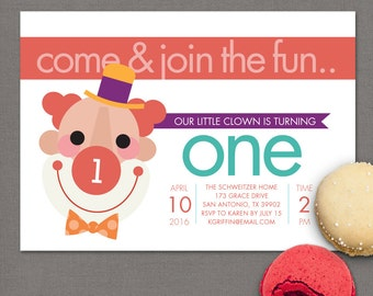 Circus Clown Birthday Party Invitations First Birthday Invitation Clown Party Circus Party Circus Birthday Invites Clown Birthday Invite