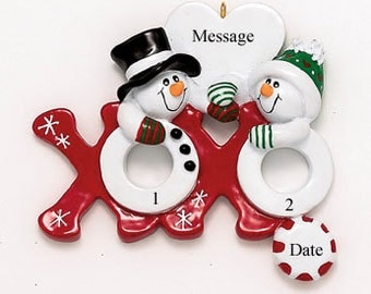 Hugs and Kisses Personalized Couple Ornament