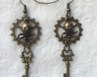 Bronze Gear Mini Ocotpus Key Charm Earrings