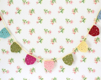 Crochet Bunting - (MADE TO ORDER), Crochet Garland, Wool Bunting
