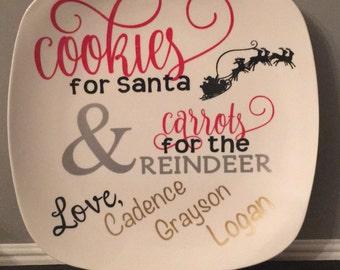 Cookies for santa plate reindeer holiday santa cookie plate milk for santa