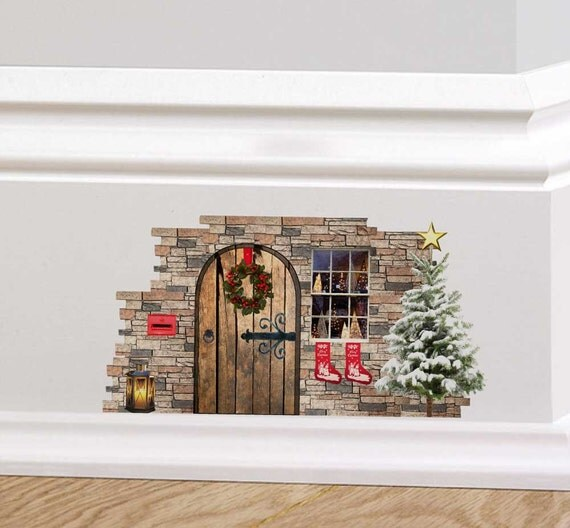 Christmas fairy cottage door wall decal sticker mural skirting for Fairy door for wall
