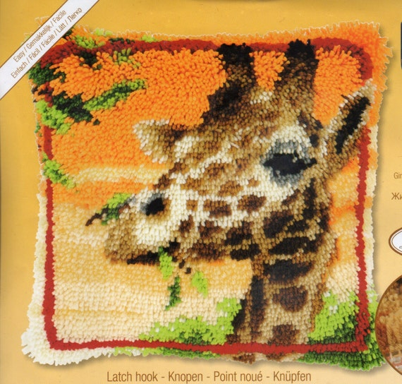GIRAFFE EATING LEAVES Latch Hook Cushion Front Kit 16 X 16 Ins