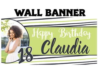 Fun Stripes Photo Birthday Banner  ~ 18th Birthday Personalize Party Banners - Large Photo Banners