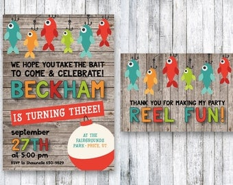 Fishing Birthday Party Invitation | Fish Birthday Invitation | Fish Party | Gone Fishin' | Little Boy Birthday Party | Printable | O-Fish-Al