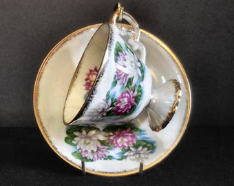 Vintage Footed Cup and Saucer Set Porcelain with Water Lily and Iridescent Decoration Sterling China Japan
