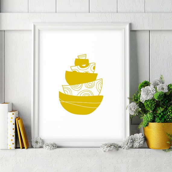 Yellow Kitchen Art: Mustard Yellow Kitchen Decor Bowl Printable Kitchen Art