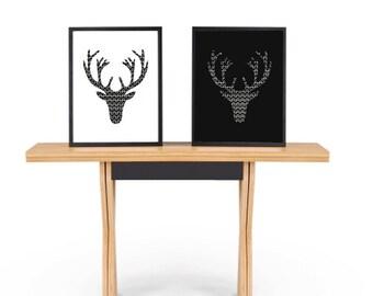 Illustration art print, Deer Head, Black and white poster,  Minimalist Art, Scandinavian poster, Pattern design, Nordic decor