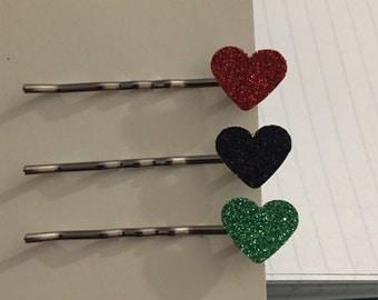 Heart bobby pins